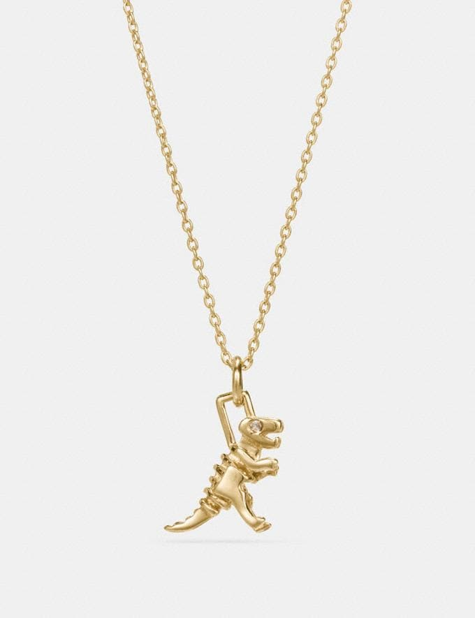 Coach Mini 18k Gold Plated Rexy Necklace Gold Women Accessories Jewellery