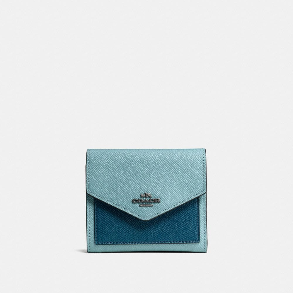 SMALL WALLET IN COLORBLOCK CROSSGRAIN LEATHER