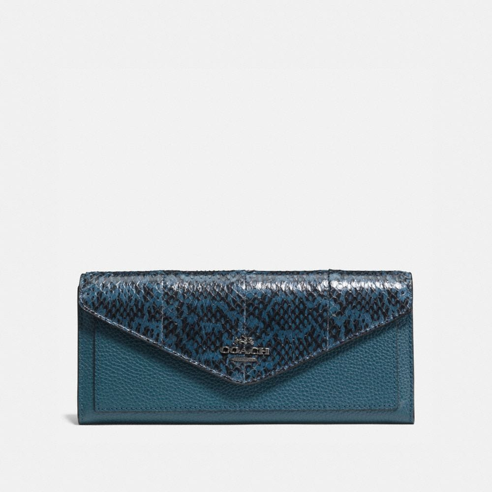 SOFT WALLET IN COLORBLOCK SNAKE