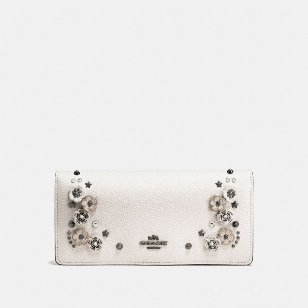 SLIM WALLET IN POLISHED PEBBLE LEATHER WITH WILLOW FLORAL DETAIL