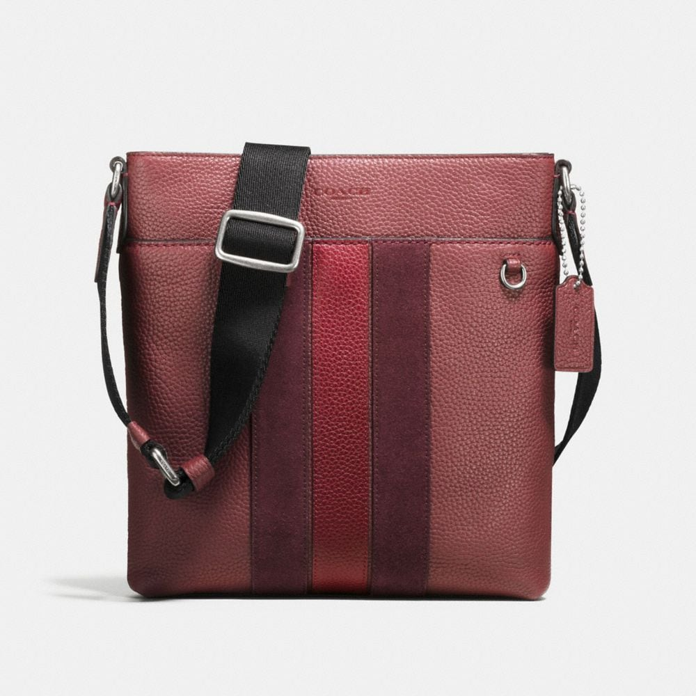 COACH Metropolitan Slim Messenger In Pebble Leather in Burgundy