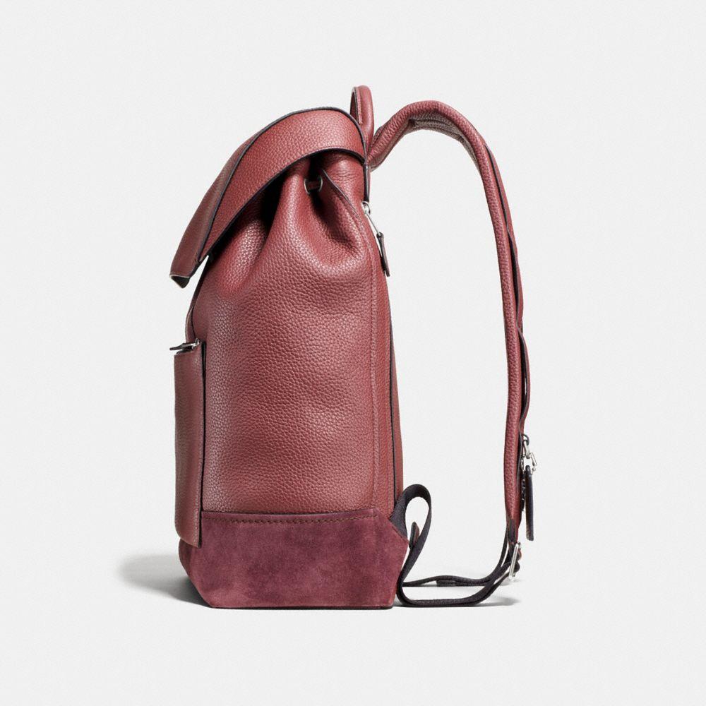 Manhattan Backpack in Rebel Varsity Pebble Leather - Alternate View A1