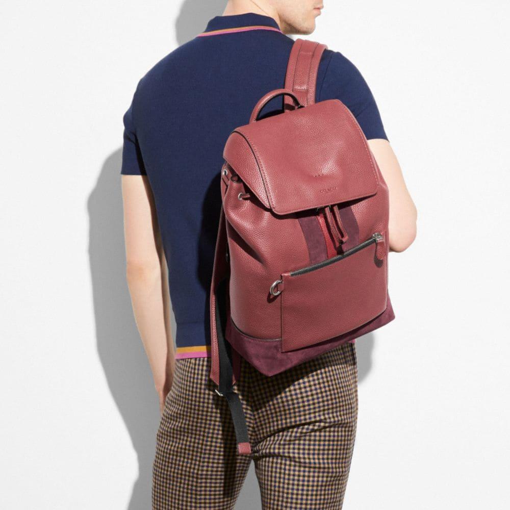 COACH Manhattan Backpack In Rebel Varsity Pebble Leather in Dark Nickel/Brick Red