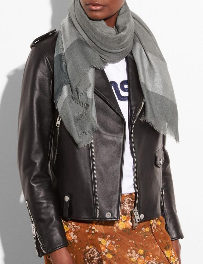 Coach Metallic Windowpane Challis Graphite Women Accessories Hats Scarves and Gloves Alternate View 1