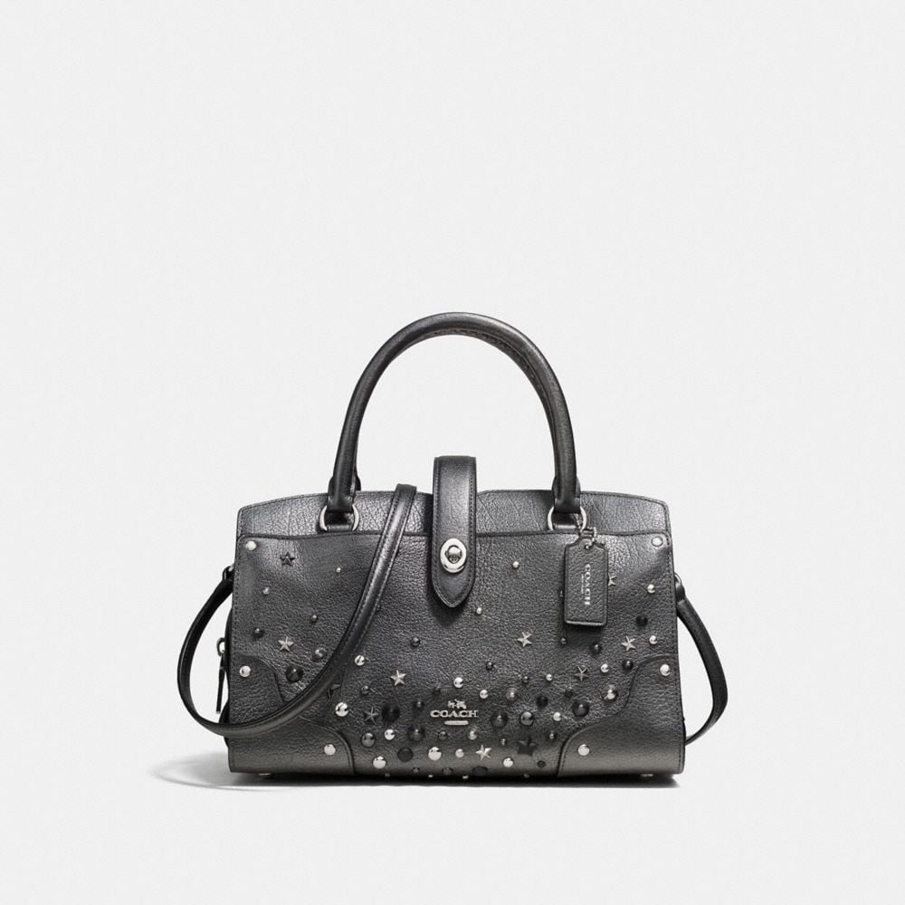 MERCER SATCHEL 24 IN METALLIC LEATHER WITH STAR RIVETS