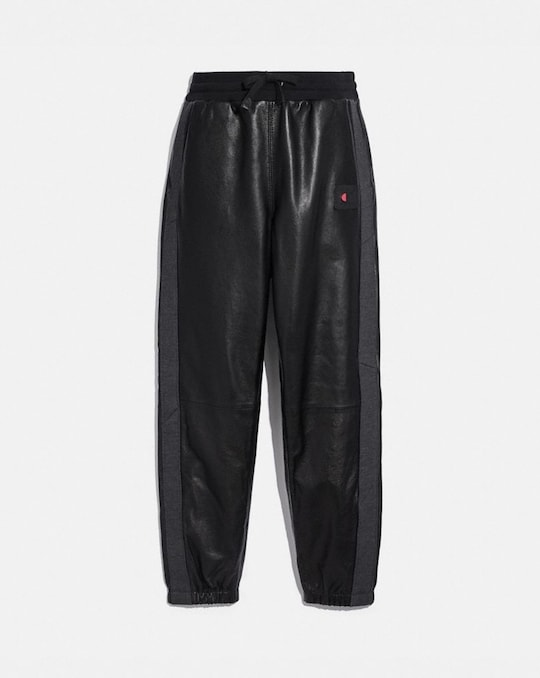 COACH X CHAMPION LEATHER SWEATPANTS