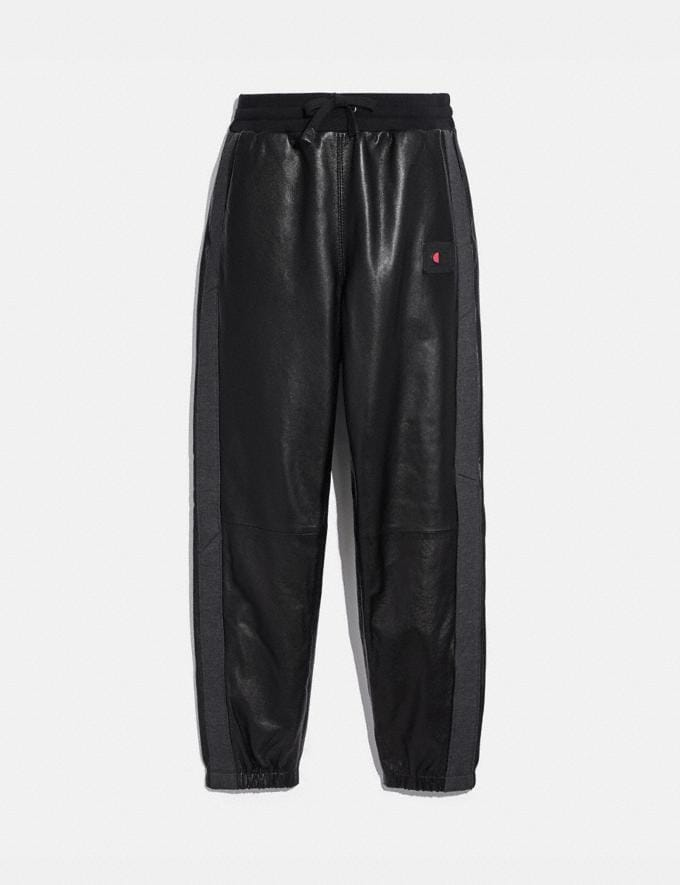 Coach Coach X Champion Leather Sweatpants Black