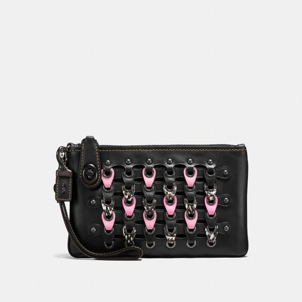 TURNLOCK WRISTLET 21 IN EXOTIC COACH LINK LEATHER
