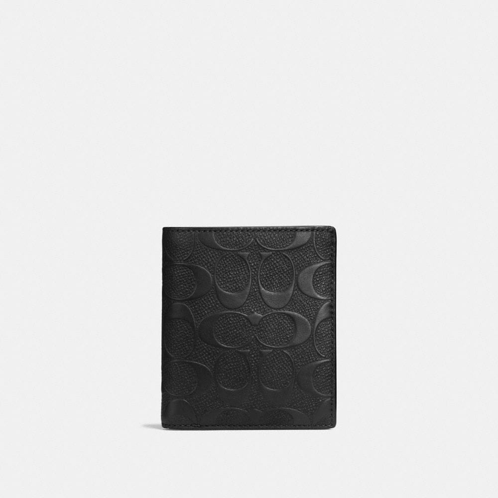 SLIM COIN WALLET IN SIGNATURE CROSSGRAIN LEATHER
