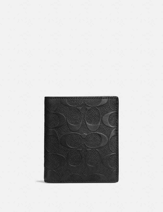 Coach Slim Coin Wallet in Signature Leather Midnight Men Wallets Coin Cases