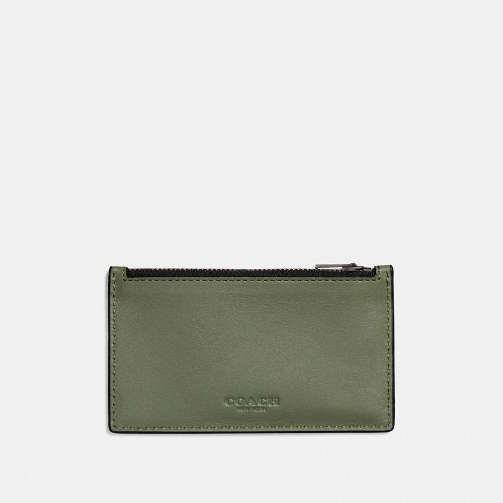 COACH Zip Card Case In Sport Calf Leather in Green