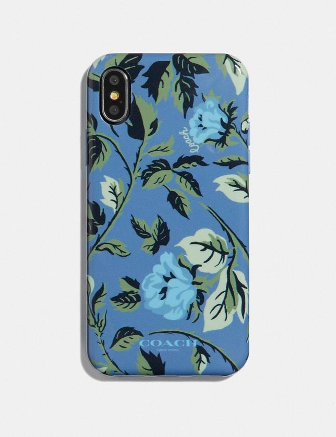 Coach iPhone X/Xs Case With Sleeping Rose Print Blue/Multi Women Accessories Desk & Tech