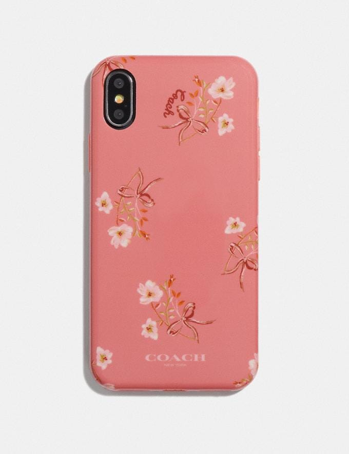 Coach iPhone X/Xs Case With Floral Bow Print Coral Multi 30% off Select Full-Price Styles