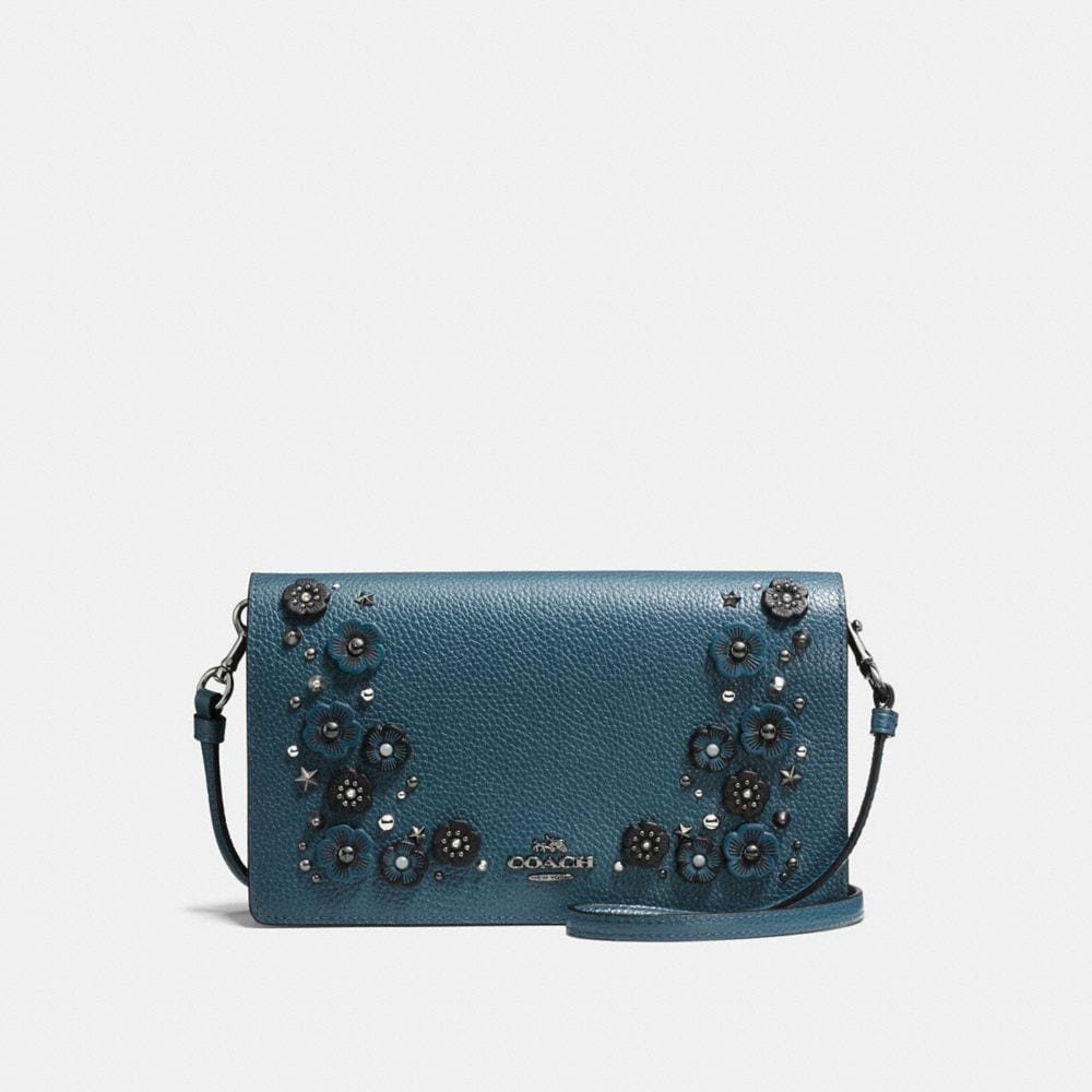 Foldover Crossbody Clutch in Polished Pebble Leather With Willow Floral Detail