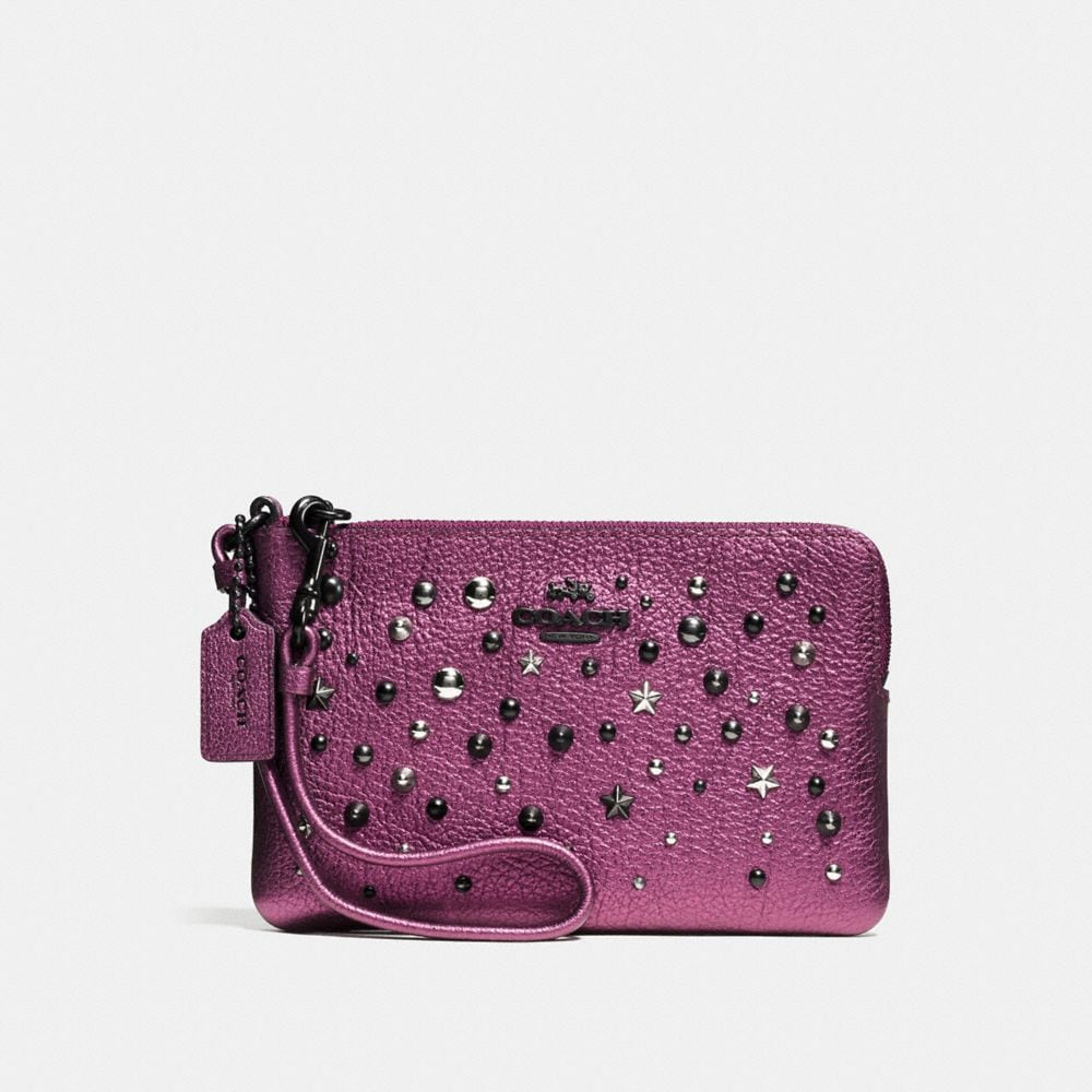 Small Wristlet in Metallic Leather With Star Rivets