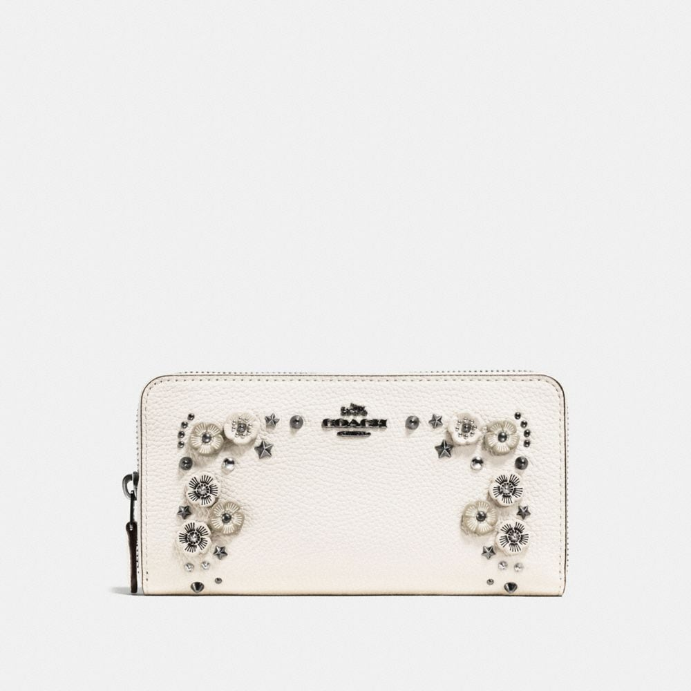 Coach Wallets ACCORDION ZIP WALLET IN POLISHED PEBBLE LEATHER WITH WILLOW FLORAL