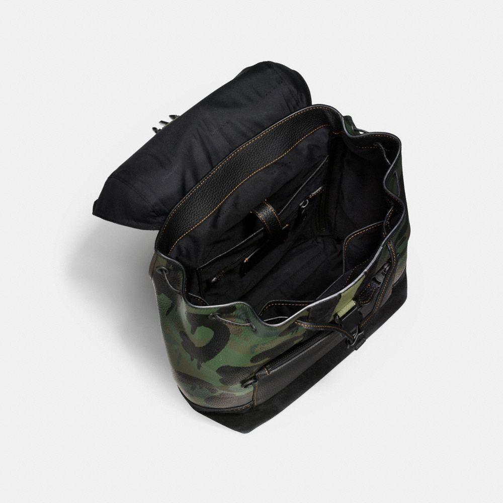COACH Manhattan Backpack In Wild Beast Pebble Leather in Black/Military Wild Beast