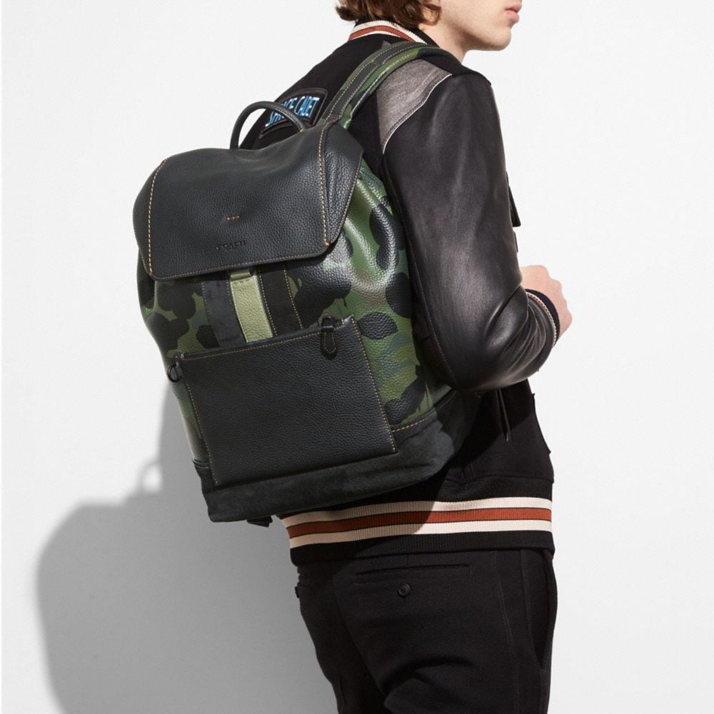 COACH Manhattan Backpack In Wild Beast Pebble Leather in : Black/Military Wild Beast