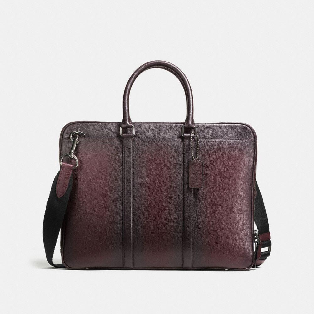 COACH Metropolitan Slim Brief In Burnished Crossgrain Leather in Black Antique Nickel/Oxblood
