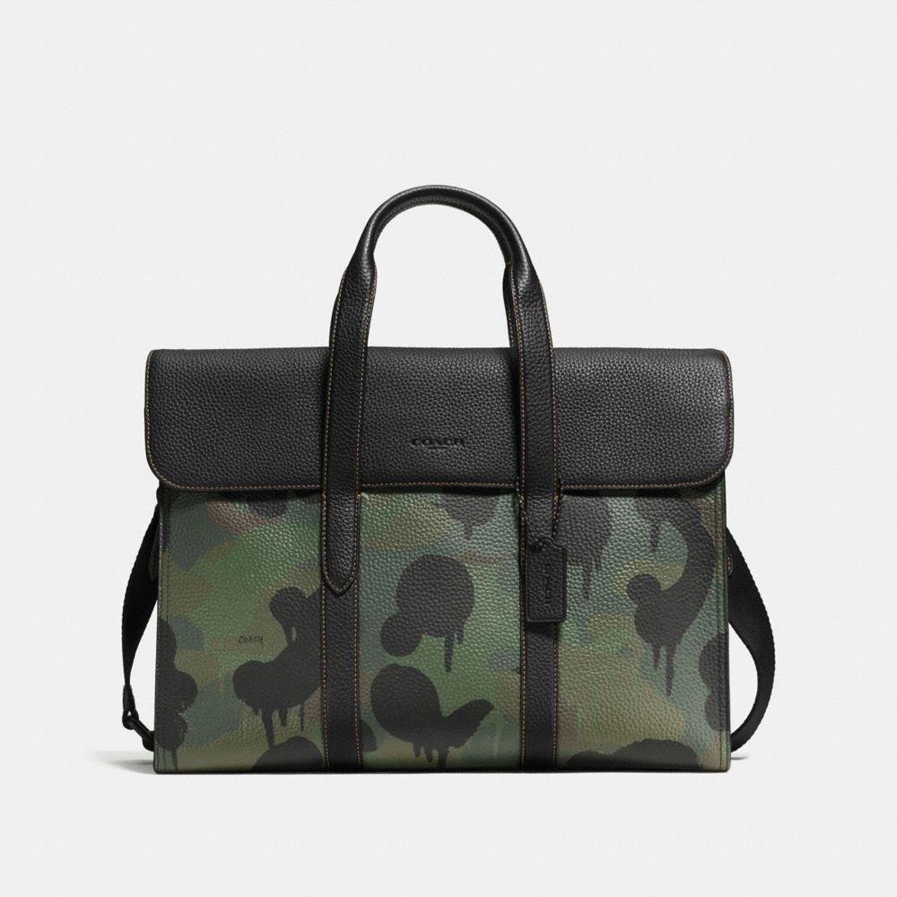 COACH Metropolitan Portfolio In Pebble Leather With Wild Beast in Black/Military Wild Beast