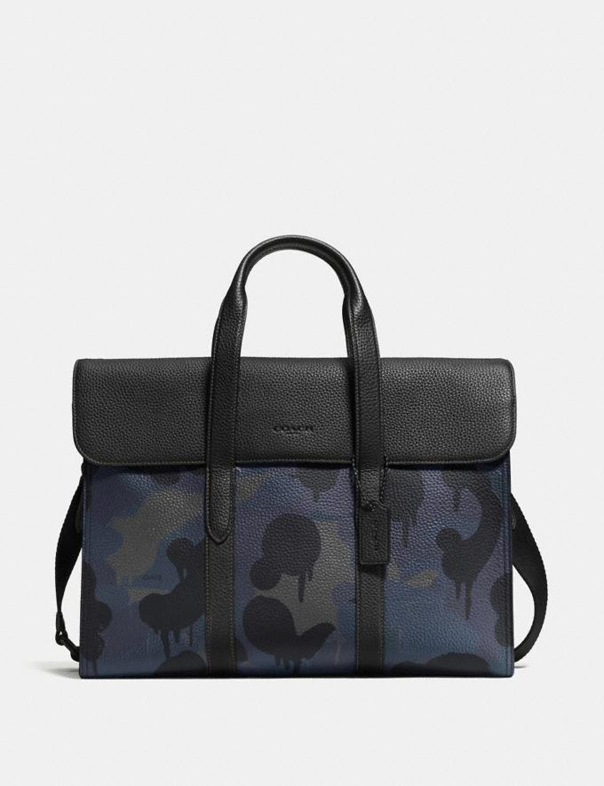 Coach Metropolitan Portfolio With Wild Beast Print Blue Wild Beast/Black Copper Men Bags Briefcases