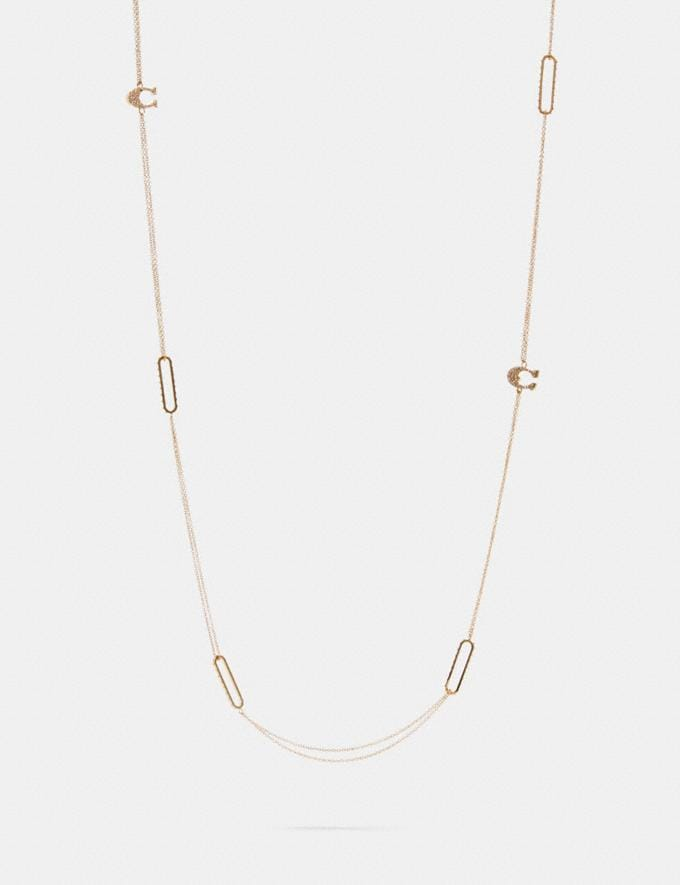 Coach Pave Signature Long Necklace Gold