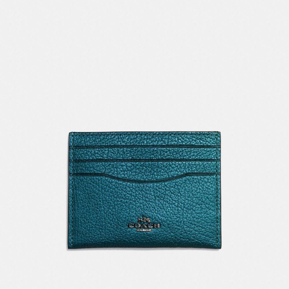 Flat Card Case in Metallic Grain Leather