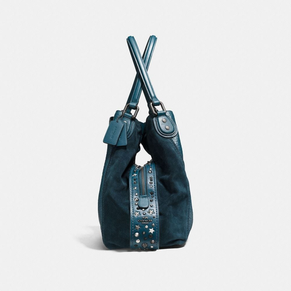 Edie Shoulder Bag 42 in Mixed Leathers With Star Rivets - Visualizzazione alternativa A1