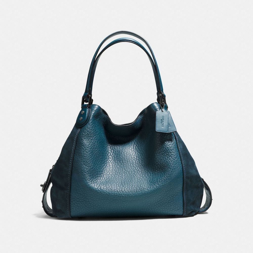 Edie Shoulder Bag 42 in Mixed Leathers With Star Rivets