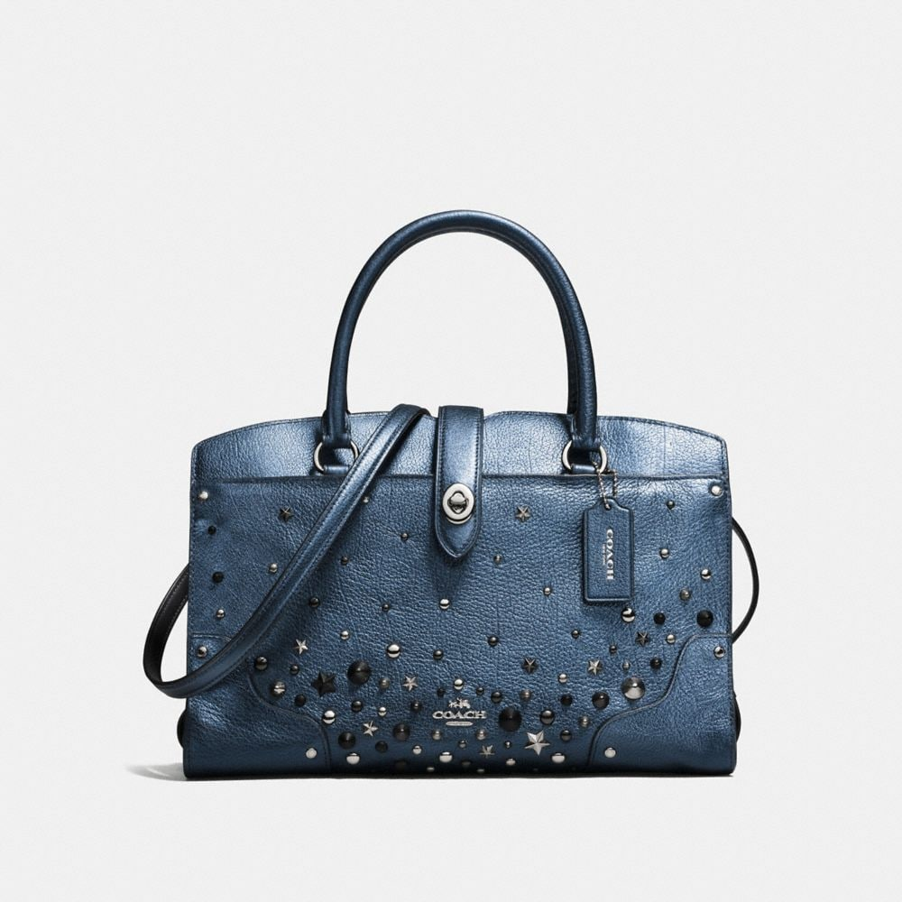 Mercer Satchel 30 in Metallic Leather With Star Rivets
