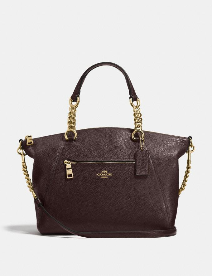 Coach Chain Prairie Satchel Chestnut/Light Gold Women Handbags
