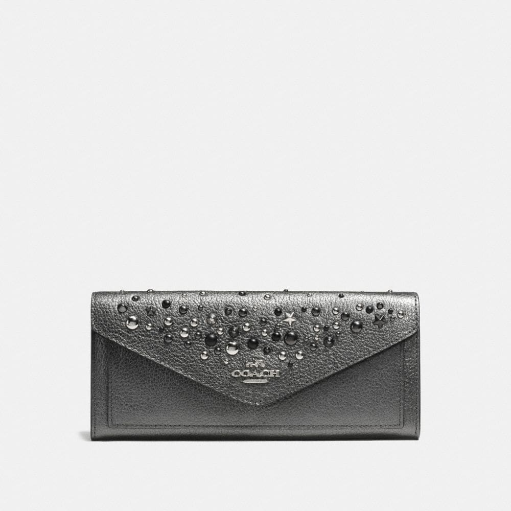 SOFT WALLET IN METALLIC LEATHER WITH STAR RIVETS