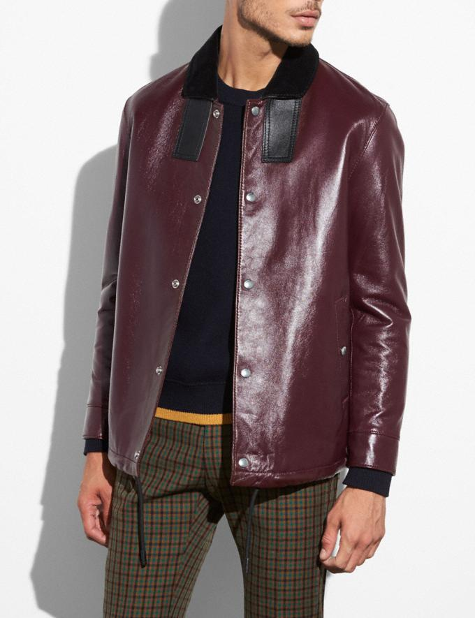 Coach Leather Coach Jacket Maroon Men Ready-to-Wear Outerwear