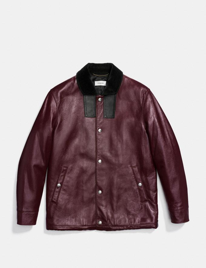 Coach Leather Coach Jacket Maroon Men Ready-to-Wear Outerwear Alternate View 1