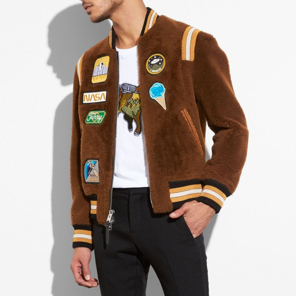 SHEARLING VARSITY JACKET