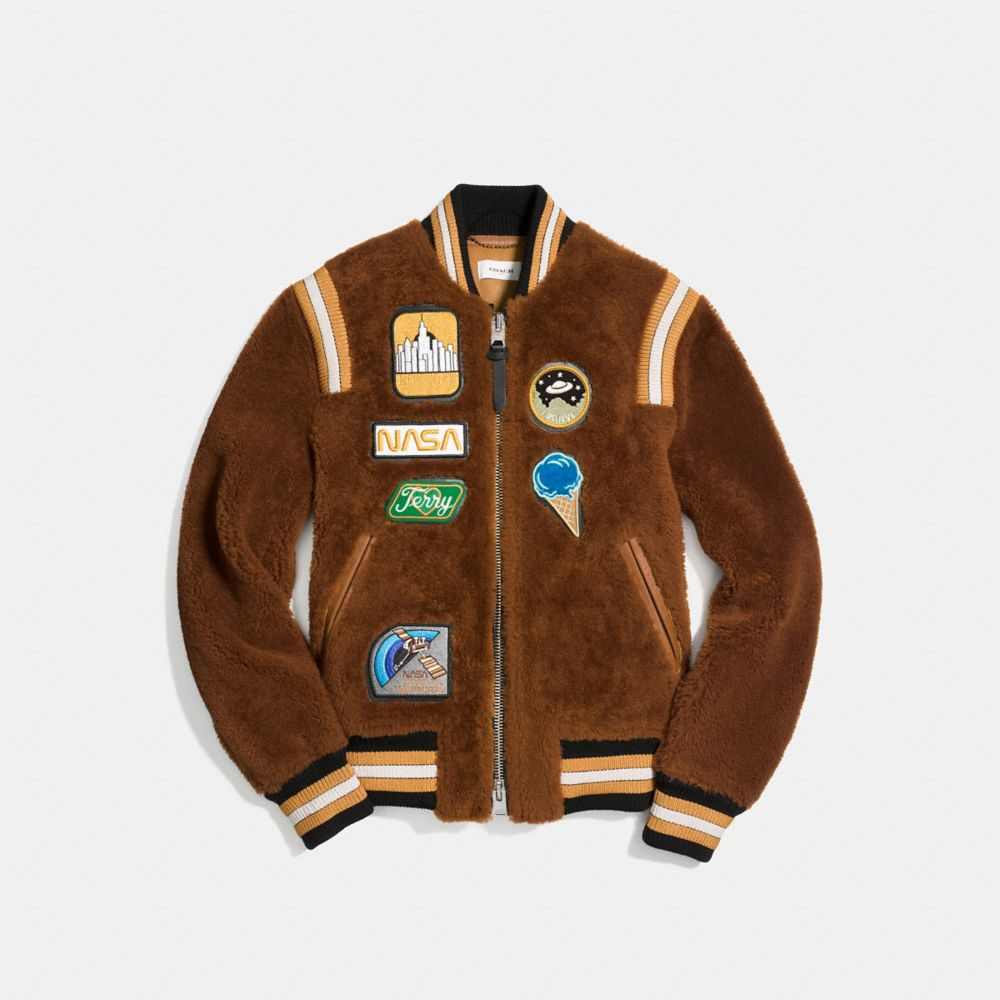 Coach Shearling Varsity Jacket Alternate View 1