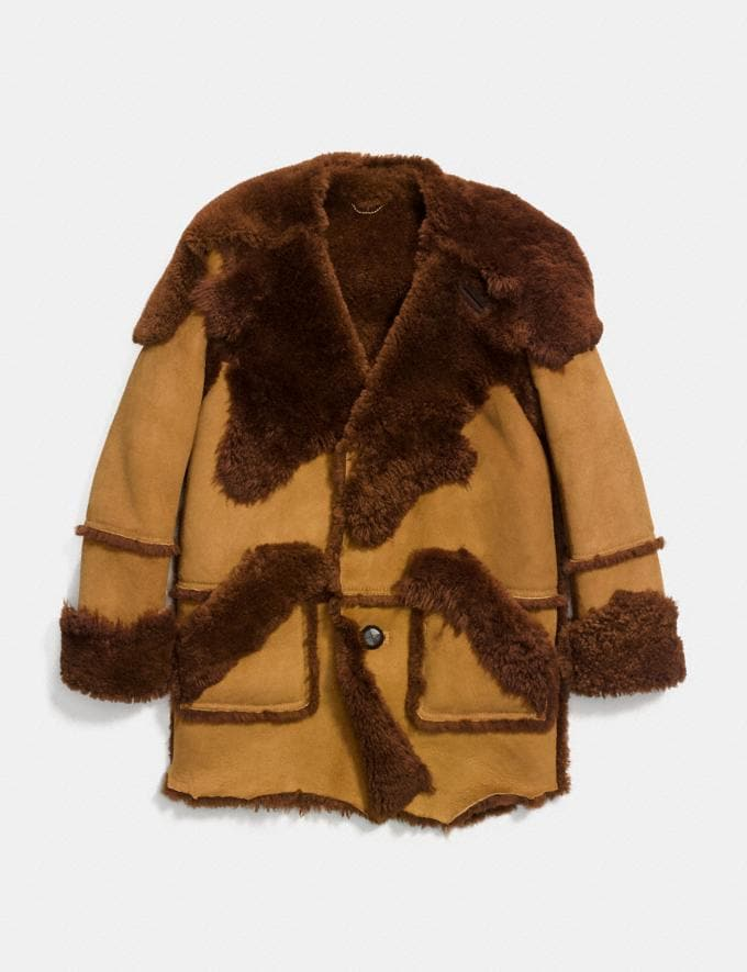 Coach Shearling Coat Light Toffee/Toffee Men Ready-to-Wear Outerwear Alternate View 1