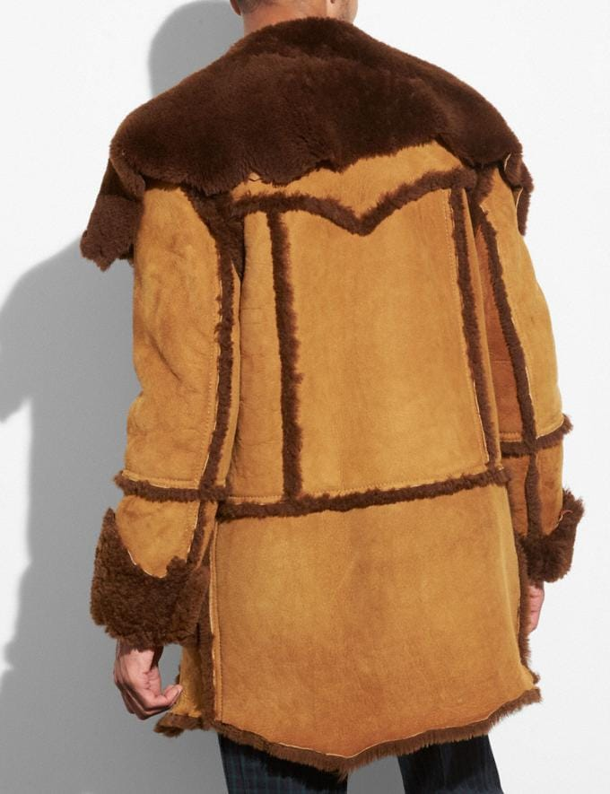 Coach Shearling Coat Light Toffee/Toffee Men Ready-to-Wear Outerwear Alternate View 2