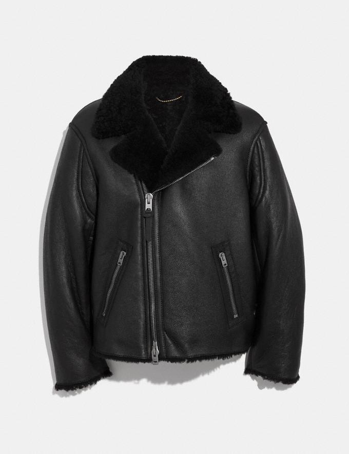 Coach Shearling Moto Jacket Black/Black SALE Men's Sale