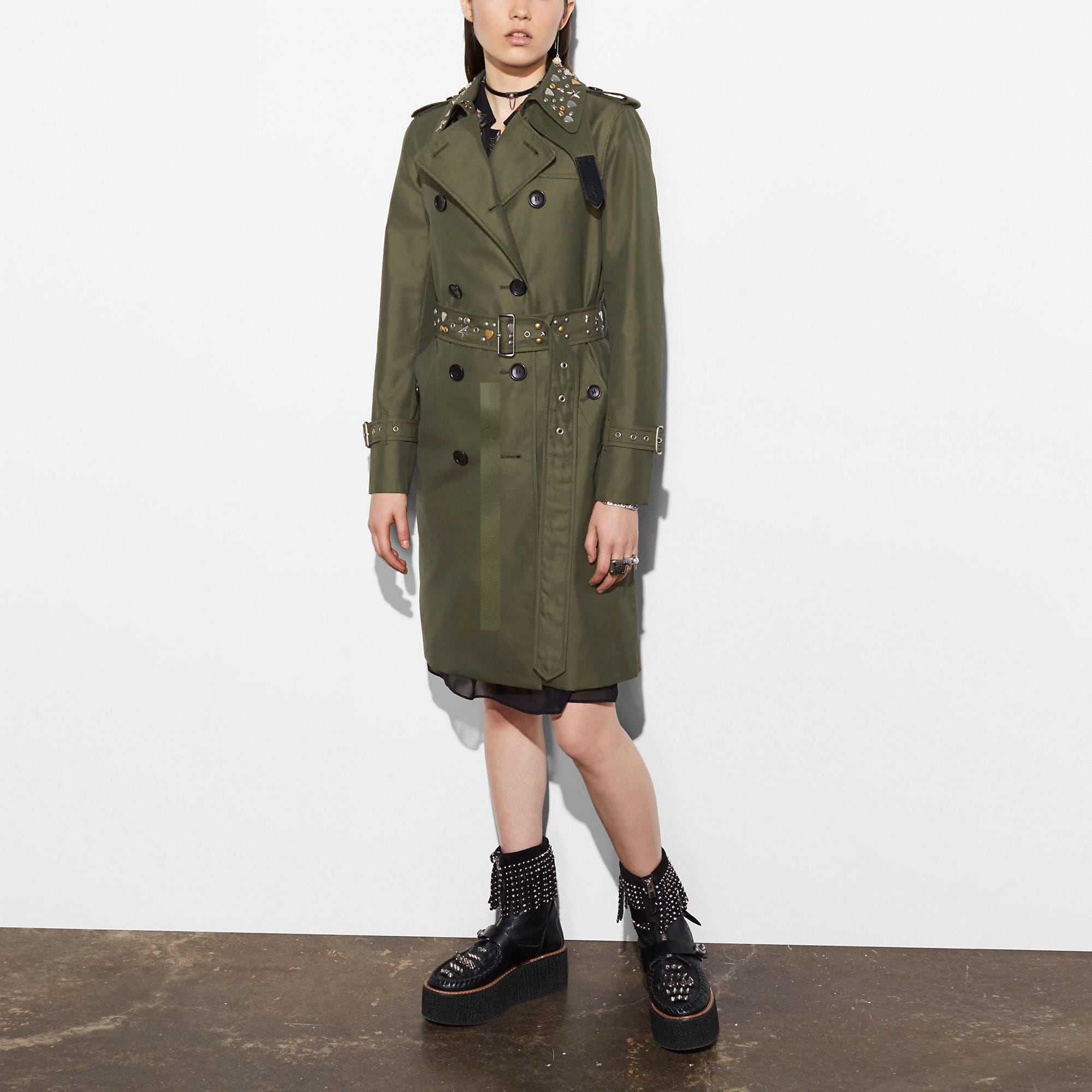 Coach Icon Trench With Rivets