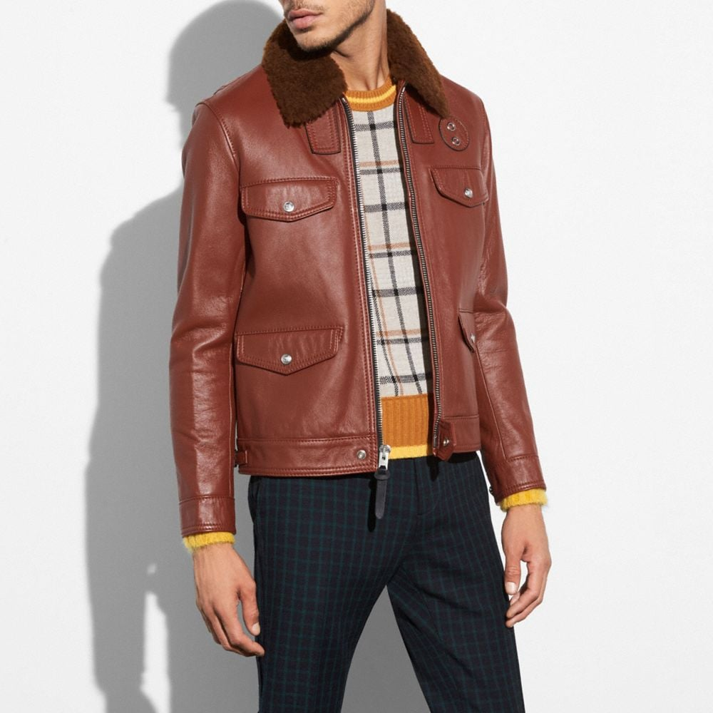 FOUR POCKET LEATHER JACKET