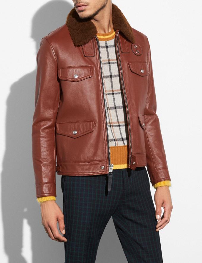 Coach Four Pocket Leather Jacket Red Oak
