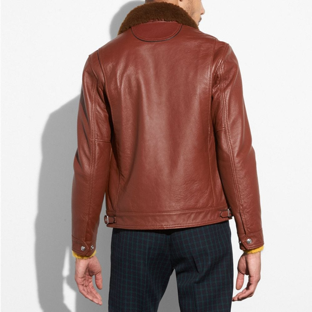 Coach Four Pocket Leather Jacket Alternate View 2