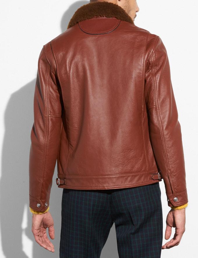Coach Four Pocket Leather Jacket Red Oak  Alternate View 2