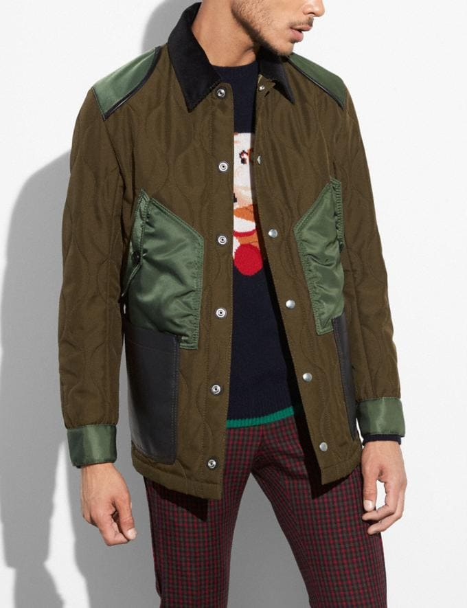 Coach Quilted Anorak Od Green SALE Men's Sale Ready-to-Wear