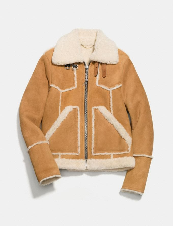 Coach Shearling Lumber Jacket Toffee/Natural