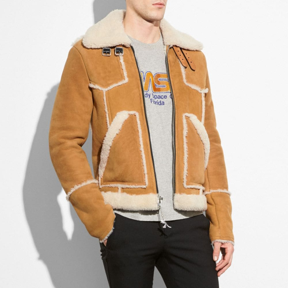 Coach Shearling Lumber Jacket Alternate View 1