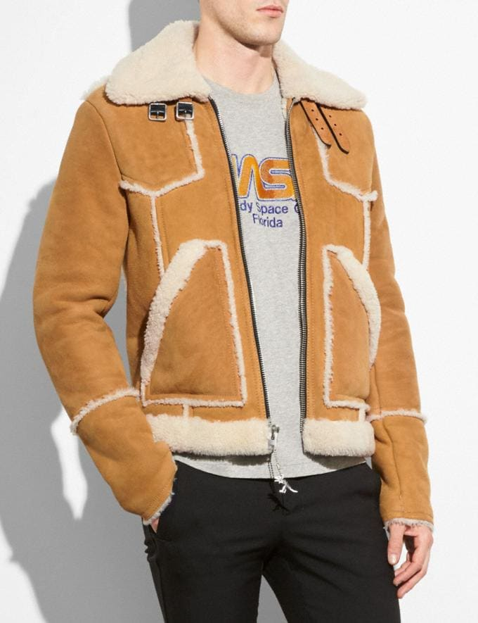 Coach Shearling Lumber Jacket Toffee/Natural  Alternate View 1