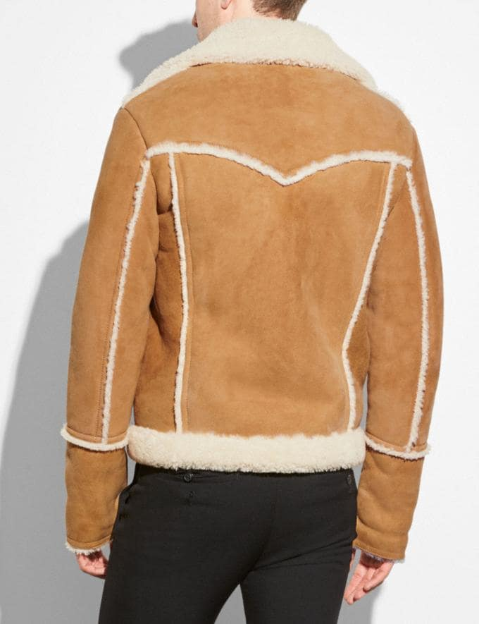 Coach Shearling Lumber Jacket Toffee/Natural  Alternate View 2