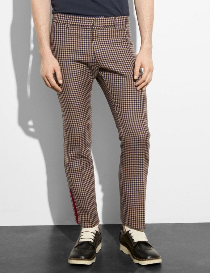 Coach Gingham Straight Leg Trousers Gingham Khaki/Navy